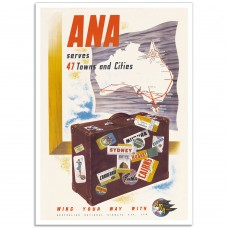 ANA serves 47 Towns and Cities - Vintage Australian Airline Poster