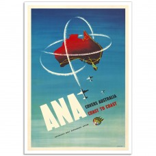 ANA Covers Australia - Vintage Australian Airline Poster