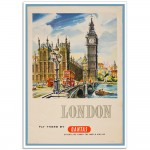 London. Fly There - Vintage Australian Airline Poster