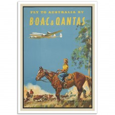 Fly to Australia by BOAC and Qantas - Vintage Airline Poster