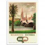 Melbourne Victoria - Wing Your Way With ANA - Vintage Australian Airline Poster