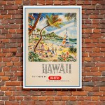 Australias Airline to Hawaii - Vintage Australian Airline Poster