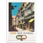 Perth West Australia - Wing Your Way With ANA - Vintage Australian Airline Poster