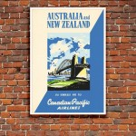 Australia and NZ - Vintage Airline Poster