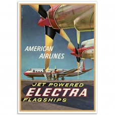 Electra - American Airlines - Vintage Airline Poster
