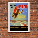 Learn to fly Curtiss-Wright Flying Service - Vintage Airline Poster