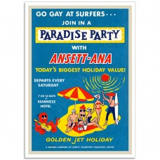 Go Gay at Surfers - Ansett-ANA - Retro Australian Airline Poster