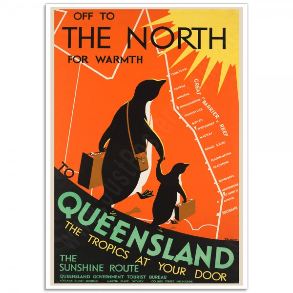 Off to the North for Warmth - Vintage Queensland Tourism Poster