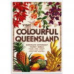 Visit Colourful Queensland - Vintage Australian Tourism Poster