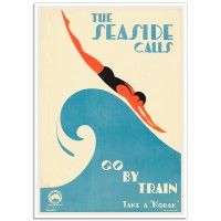 The seaside calls - go by train - Sellheim Poster