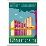 Follow the Winter Sunshine Perth - Vintage Australian Travel Poster