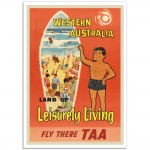 Western Australia Land of Leisurely Living - Vintage Australian Travel Poster