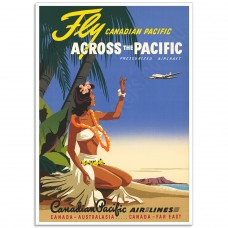Fly Across the Pacific - Vintage Canadian Airline Poster