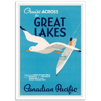 Cruise Across The Great Lakes - Vintage Canadian Railway Travel Poster
