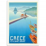 Island of Corfou, Greece - Vintage Greek Tourism Poster