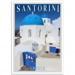 Santorini - Church Domes of Oia - Greek Travel Poster