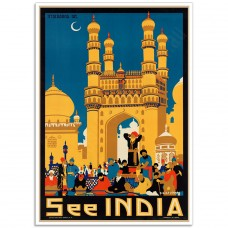 See India Hyderabad  - Vintage Indian Travel Poster