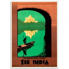 See India Chhattar Manzil  - Vintage Indian Travel Poster