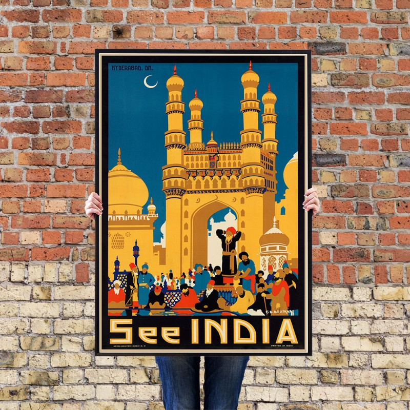 See India Hyderabad Vintage Indian Tourist Poster