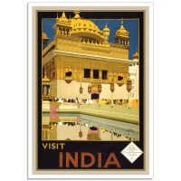 Visit India, Golden Temple in Amritsar - Vintage Indian Travel Poster