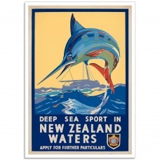 Deep Sea Sport in New Zealand Waters - Vintage NZ Travel Poster