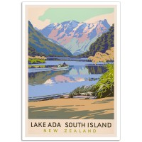 Lake Ada, South Island - Vintage NZ Travel Poster