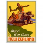 Maori War Canoe - Vintage New Zealand Travel Poster