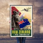 New Zealand via Pan American - Vintage NZ Airline Travel Poster