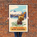 New Zealand Trout Fishing - Vintage NZ Travel Poster