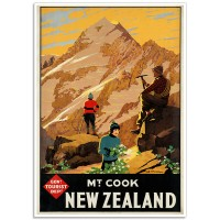 Mount Cook, New Zealand - Vintage NZ Travel Poster