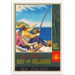 Sword Fishing - Bay of Islands - Vintage New Zealand Travel Poster
